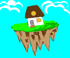 island w/ house hovering (?) flying