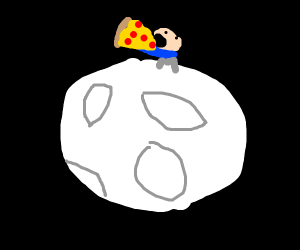 Tiny man eating pizza on the moon