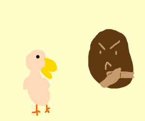 potato hates a bird with no feathers