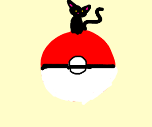 a cat chillin on pokeball
