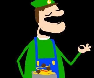 Luigi eatsa spaghetti-What a spicie meatball