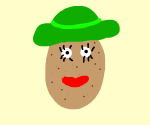 Potato face with green hat