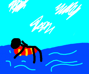 Stick figure floats in ocean