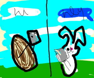 Almond texting Rabbit
