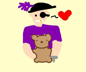 fancy pirate with a teddy bear