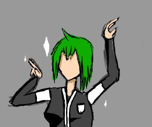 sparkling anime girl in black n white uniform