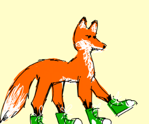 Fox wearing four sneakers