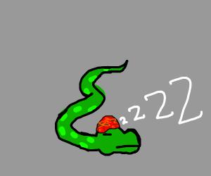 Spotty snake in hat snoozes