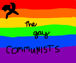 Gay pride flag with hammer and sickle