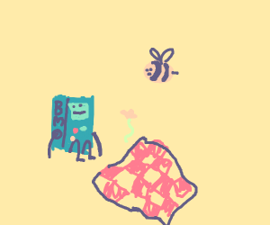 bee having a picnic with a game boy