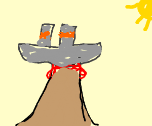 the titanic is on top of a valcano