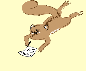 A squirrel writing his Dad a letter about eel