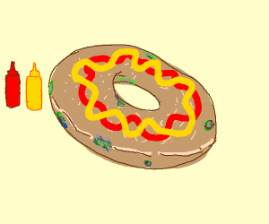 Moldy Bagel with mustard and ketchup