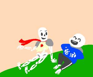 skeleton laughing