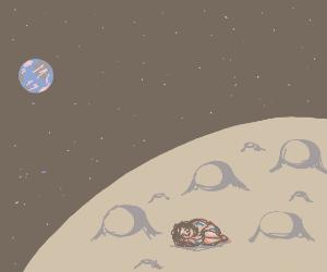 Girl Sleeping On The Moon