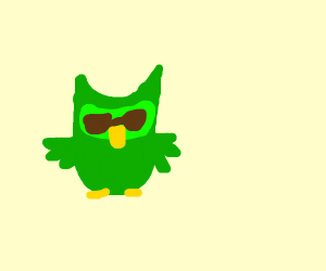 doulingo bird but is a monkey with sunglasses