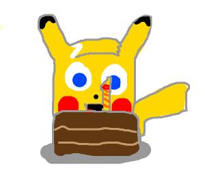 Pikachu celebrating his first birthday