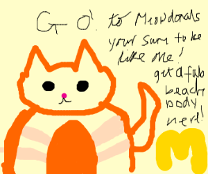 fat cat advertises meowdonalds
