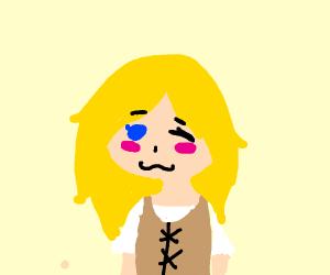 a blonde winking