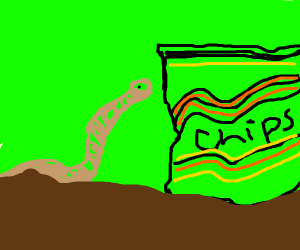 Earthworm moving a whole pack of chips