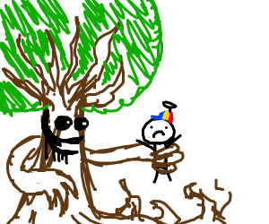 Animated tree has caught a kid