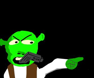 Shrek holding a gun in it's mouth.