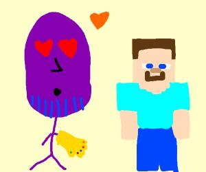 Thanos has a crush on minecraft steve