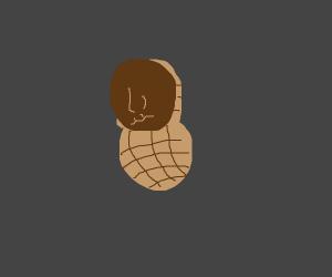 A black guy caged inside a peanut shell