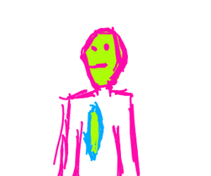 Weird pink people with green faces