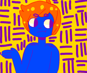 Blue male person with orange hair