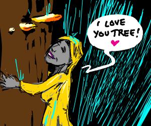 Environmentalist in the rain