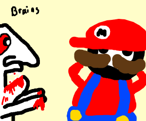 Mario gets attacked by albino zombie