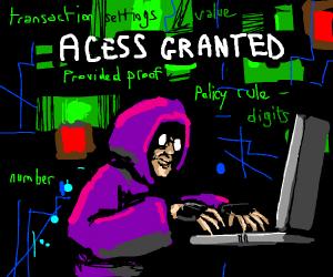 Hacker in purple hoodie