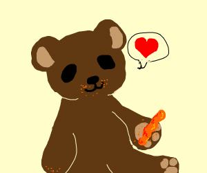 teddy bear loves cheetos