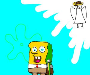 An angel watching spongebob