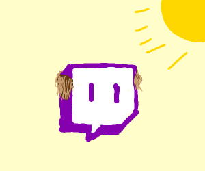 Twitch is bald on a sunny day