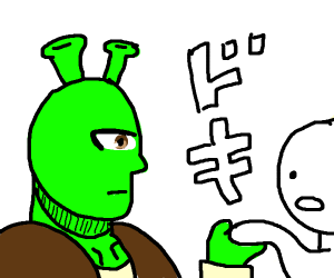 Shrek takes your hand. He needs it > you.