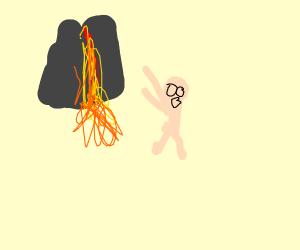 Naked man runs away from erupting volcano