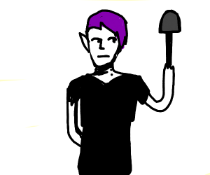 Vampire guy with purple hair and shovel