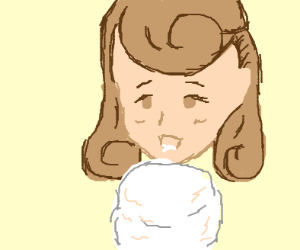 Cute girl eats cotton candy