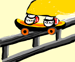 Yellow skateboarding knight is actually a sun