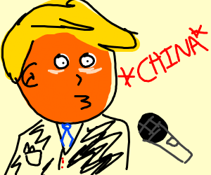 trump speaking into microphone