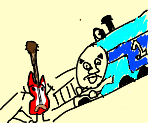 guitar jumps in front of train