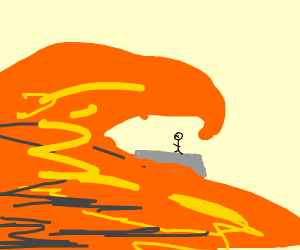 a lava is about to consume a stickman