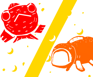 An angry red fish and a boring orange fish