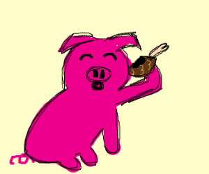 Pig eating a drumstick