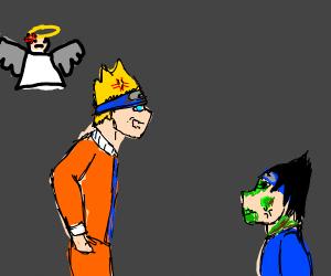 Angel and Naruto mad at zombie Sasuke