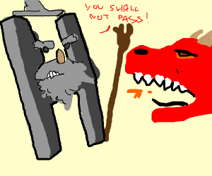 Gandalf the H trys to fight off dragon
