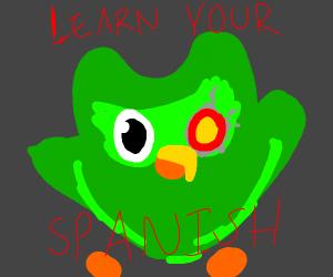 Duolingo owl with robot eye