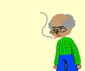 Old guy smoking